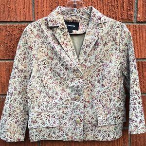 Express floral 100% leather blazer size 3/4